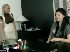 Amazing brunette girl in office clothes gets pounded in a prison