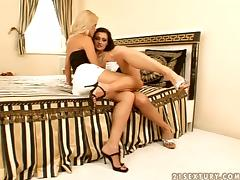 Aletta Ocean and Sophie Moone use a strap on to satisfy each other
