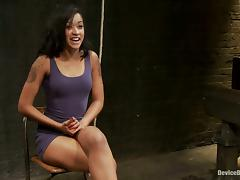 Hot Brunette Skin Diamond Gets Clothespin Torture in Bondage Vid