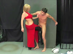 Ball busting with chubby blonde and sexy dude