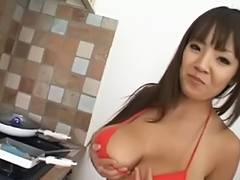 Large scoops oriental Hitomi Tanaka at the kitchen