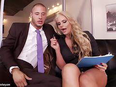 Curvaceous Phoenix Marie gets pounded by her coworker