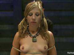 Hot Chastity Lynn gets clothespinned and pounded