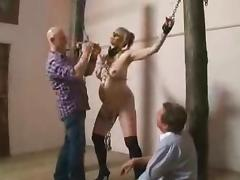 Busty pregnant blonde gets tortured in a hot BDSM clip