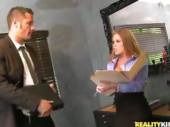 Sexy Nikki Delano fucks her colleague and gets facialed