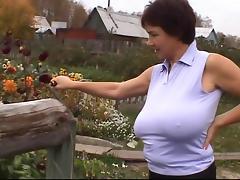 Russian Huge-Boobs-MILF on her Farm