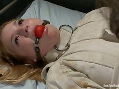 Aurora Snow gets her holes toyed and fucked while being chained