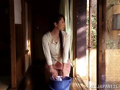 Yui Hatano gets her snatch toyed by an older man indoors