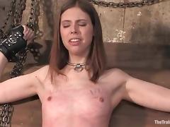 Kristine gets blindfolded, tortured and fucked hard in BDSM scene