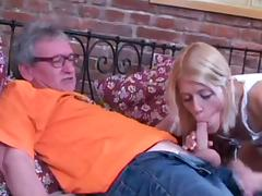 Blonde gets fucked by old man