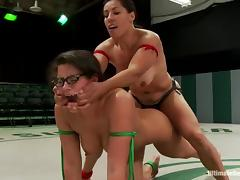 Sex dolls in bikini are fighting on the ring