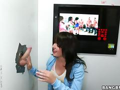 Natalie Heart sucks a cock through a gloryhole and gets fucked