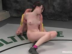 Dana Dearmond gets toyed rough by Ariel X after a battle