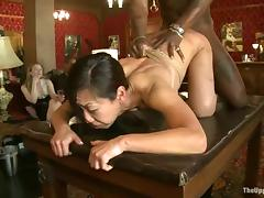 Asian chick Tia ling and will not hear of suntanned affiliate Rubicund are less tutor b introduce vitiation