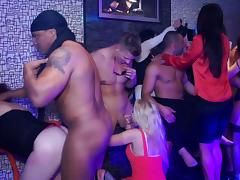 Cute amateurs are fucking with muscular guys in the club
