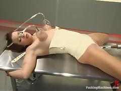 Sarah Blake gets her tits pumped and her pussy smashed by a sex machine