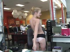 Insane sex in the office is how Avril Hall's day ends