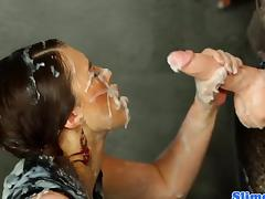 Tiffany Doll getting squirted with cum